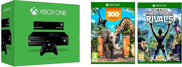 XBOX ONE 500GB Kinect senzor + 2 x hra (Kinect Sports Rivals + Zoo Tyc