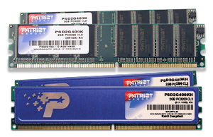 2GB DDR 400Mhz PATRIOT CL3 kit 2x1GB