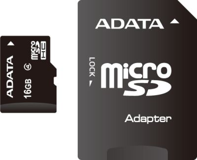 ADATA 16GB MicroSDHC Card with Adaptor Class 4