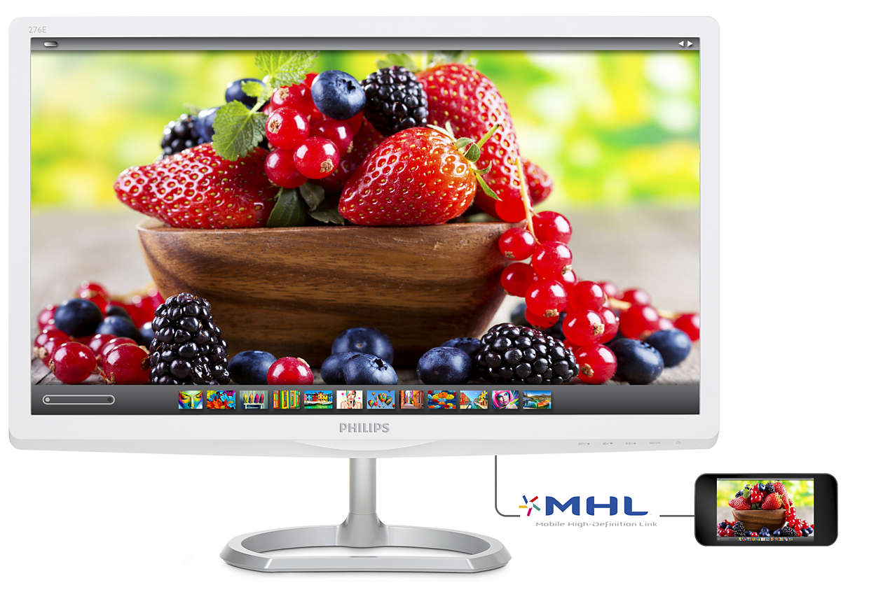 "27"" LED Philips 276E6ADSS - FHD,IPS,HDMI,MHL,bílý"