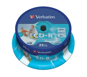 VERBATIM CD-R(25-Pack)Spindle/Printable/52x/700MB