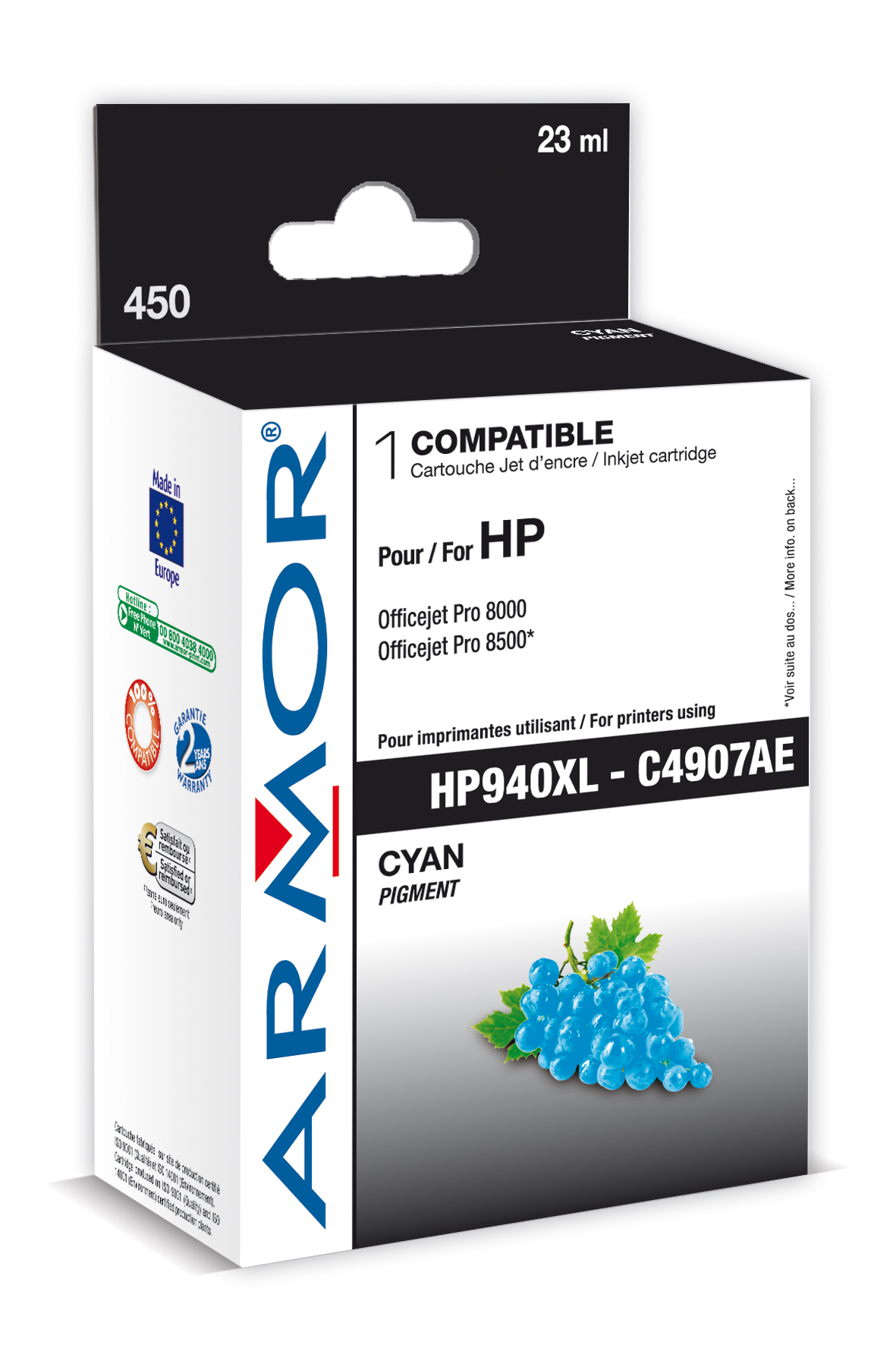 Armor ink-jet pro HP Pro 8000/8500,Chip,24 ml C