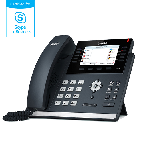 "Yealink T46G Skype for Business, PoE, 4,3"" bar. LCD, 27 prog.tl., GigE"