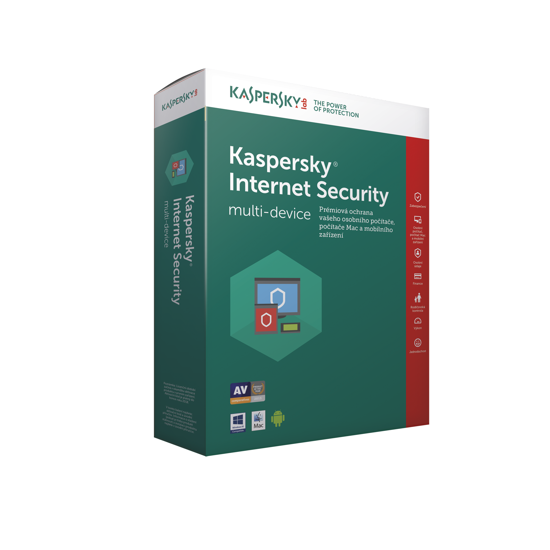 Kaspersky Internet Security MD 2017 CZ, 1x, 1 rok