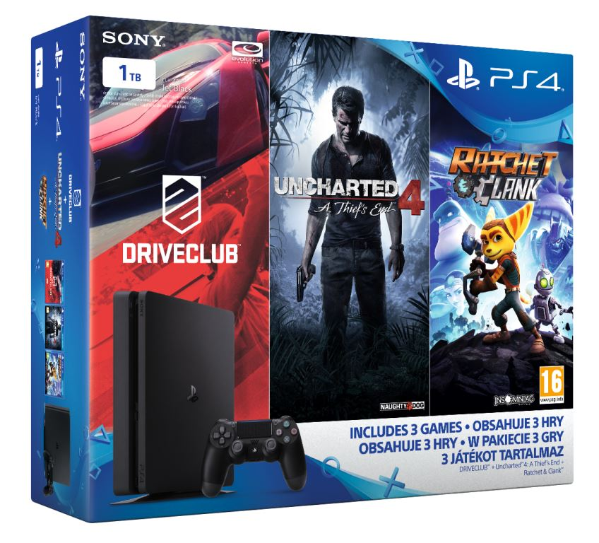 PS4 - Playstation 4 1TB Slim - FAMILY Pack - 3 hry: (Uncharted 4, Driv
