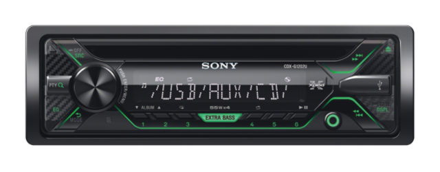 Sony autorádio CDX-G1202U CD/MP3,USB/AUX, zelená