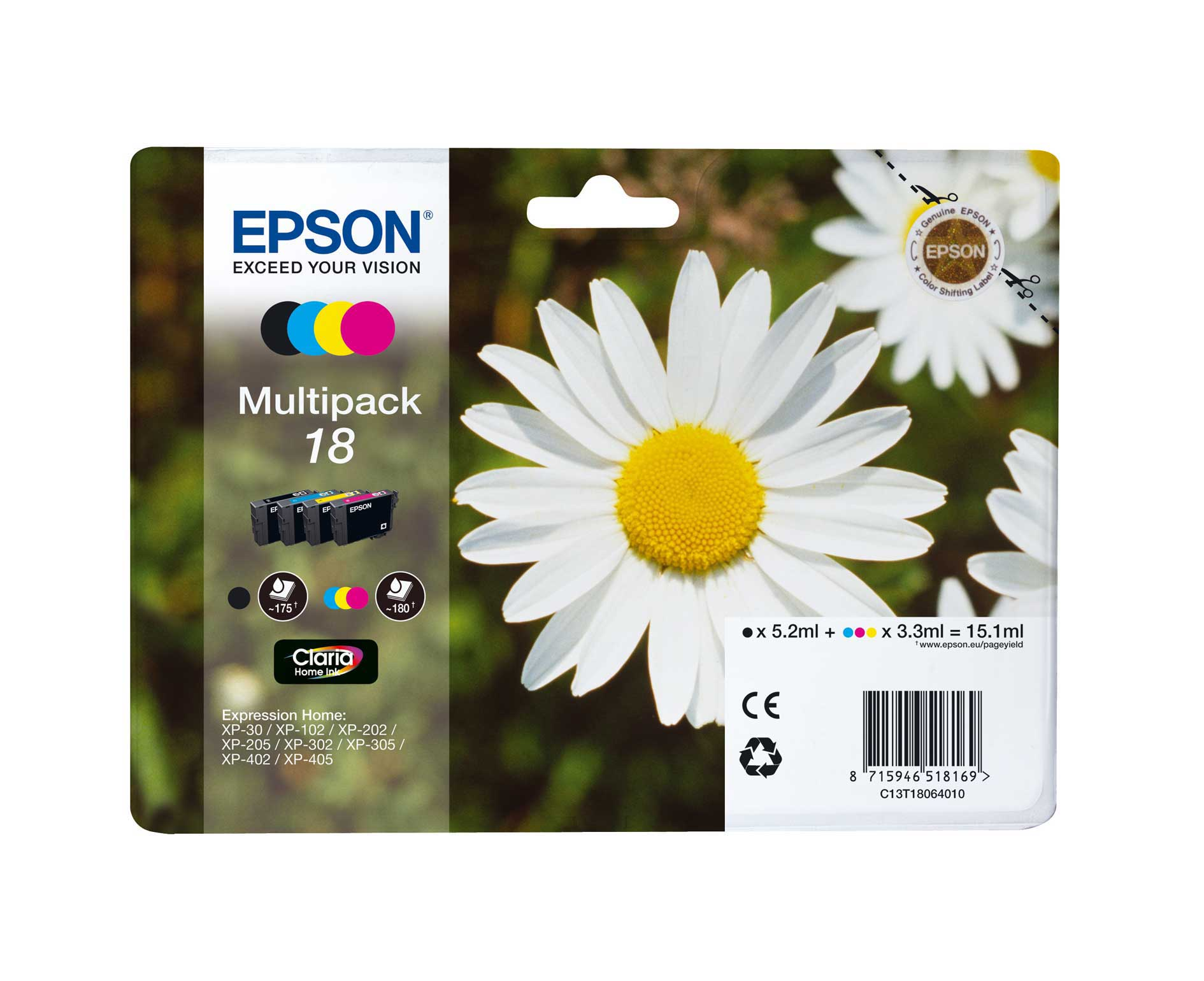 Epson T1806 Multipack 4-colours 18 Claria Home Ink