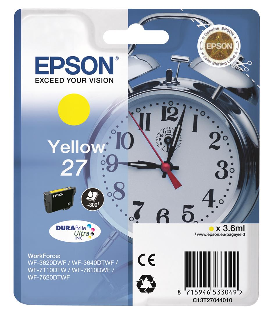 EPSON Singlepack Yellow 27 DURABrite Ultra Ink